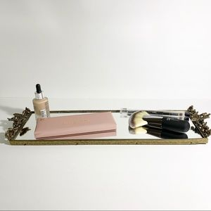 Vintage Butterfly & Floral Brass Vanity Top Mirror